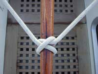 Clove hitch use to secure a tiller.